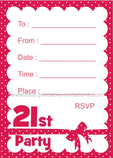 21st Birthday Invitation - Polka Dot party invites