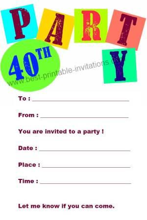 40th Birthday Invitation - Free Printable 40th Party Invitation