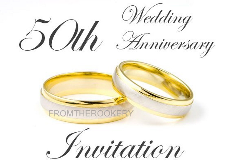 image about 50th Wedding Anniversary Cards Free Printable identified as 50th Anniversary Invites - Golden Wedding day Invitations