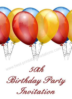 Printable 50th Birthday Invitation