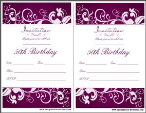 Printable 50th birthday Party Invitations