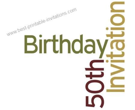 50th birthday party invitation - Free printable fiftieth invites