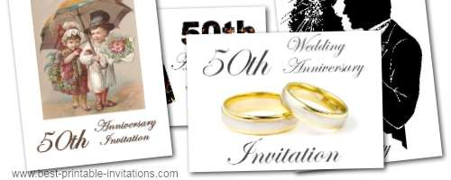 Fiftieth Wedding Anniversary Invitations: Printable 50th Wedding Anniversary Invitations