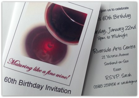 60th Birthday Party Invitations - Maturing like a fine wine!