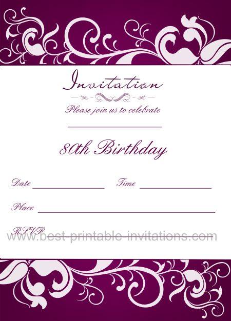 80th Birthday Invitation – 80th Birthday Invitation Cards