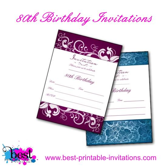 Playful image inside 80th birthday invitation templates free printable