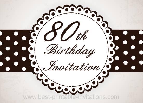 80th Birthday Party Invitation - Free Printable