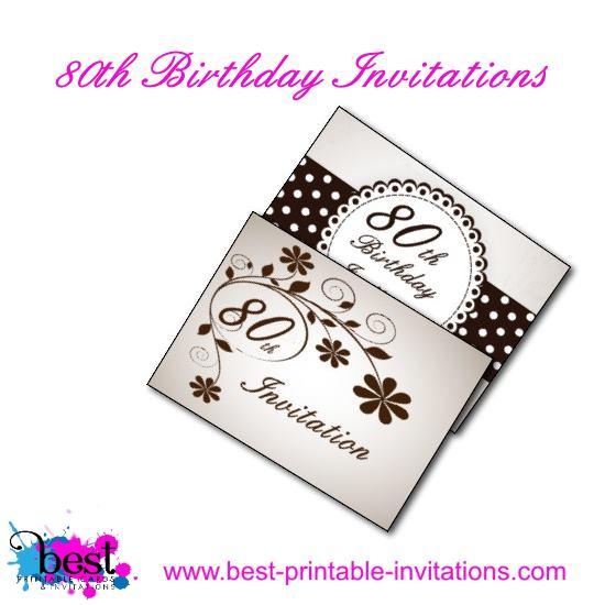 80th Birthday Party Invitation Cards