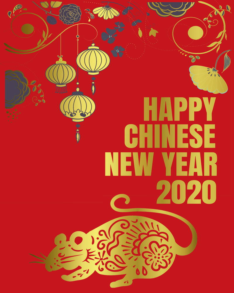Free printable chinese new year of the rat 2020 poster
