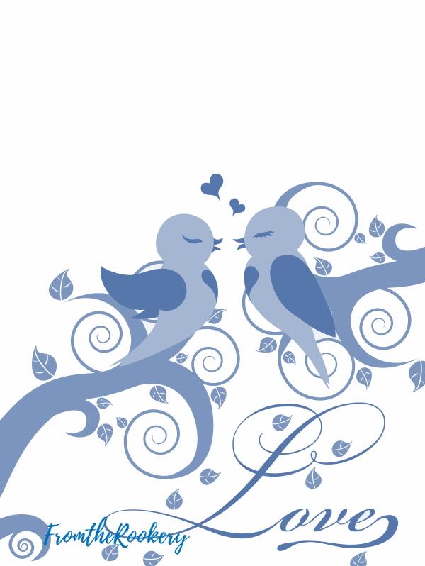 Bluebird printable valentine card