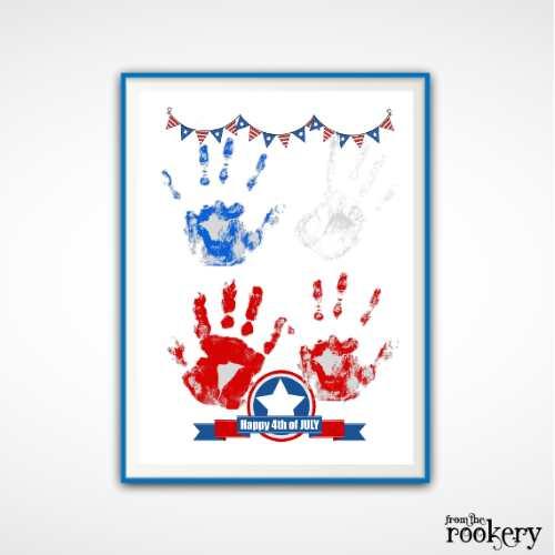 $th of July Handprint Art Template