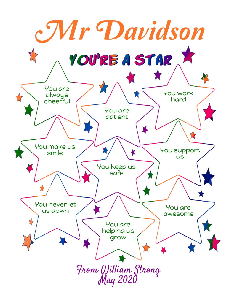 Male Teacher appreciation printable - you're a star