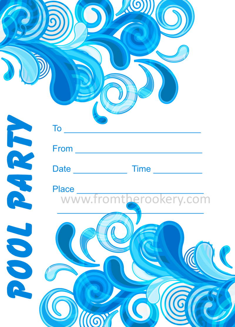 Adult Pool Party Invitations