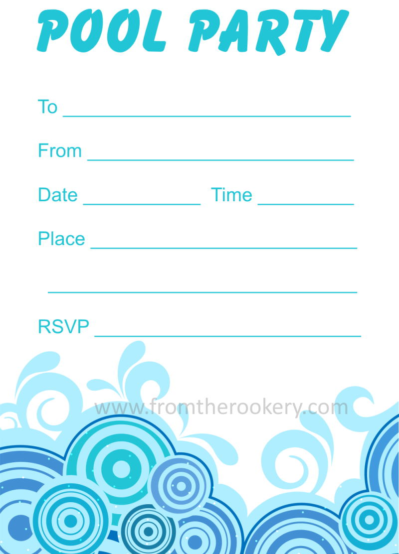 Adult Pool Party Invitations - Free Printable