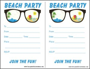 photograph regarding Beach Party Invitations Free Printable known as No cost Seashore Celebration Invitation