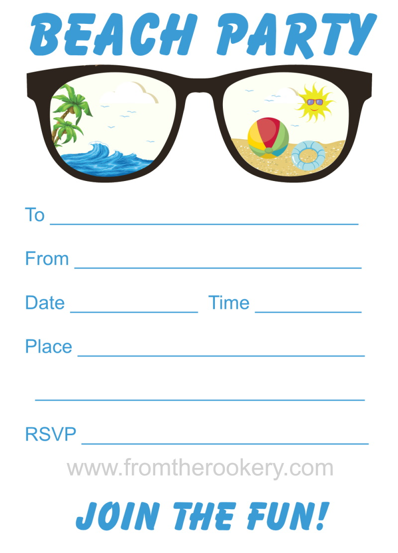Beach Party Invitation - Free Printable