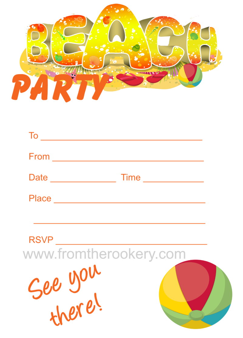 It's just a photo of Dashing Beach Party Invitations Free Printable