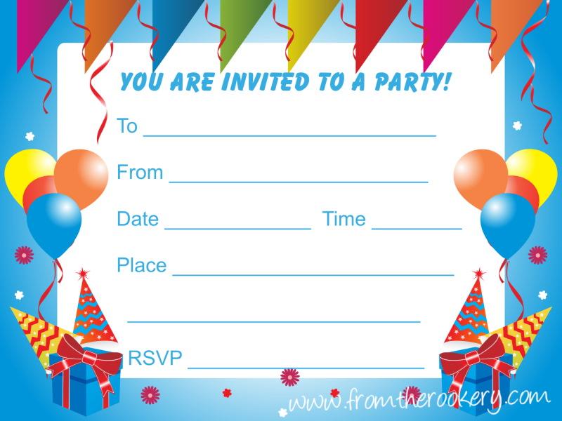 Birthday Party Invitations for Kids - Free printable invites