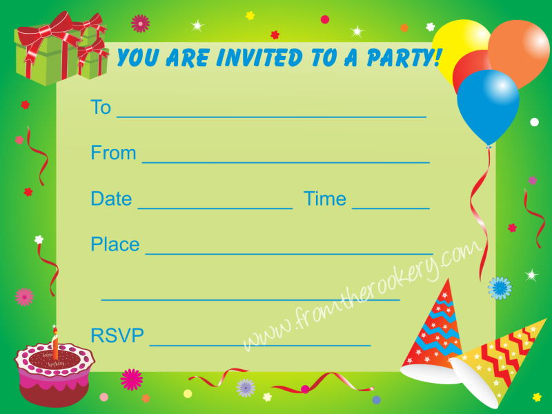 Birthday Party Invitations for Kids - Printable Invite Cards