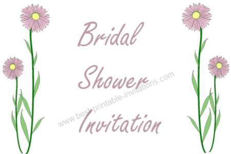 Bridal Shower Printable Invitations - pretty pink flower