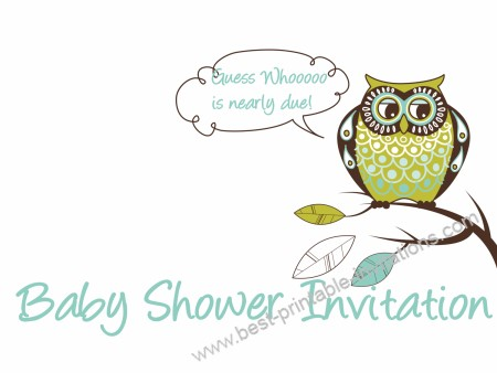 Baby Shower Invitations - cute green owl invites