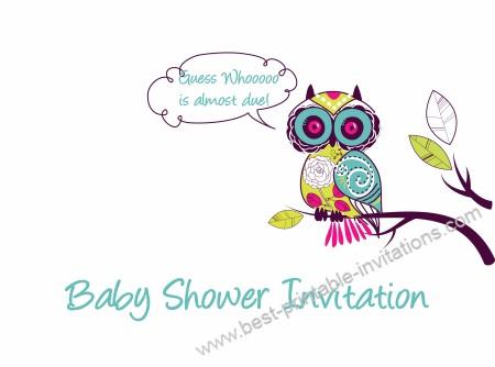 Baby Shower Invitations - cute mulit-colored owl invites