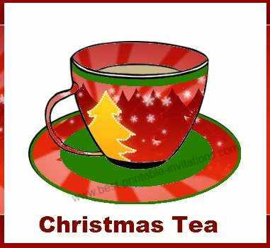 Free printable Christmas tea invitation - christmas design teacup