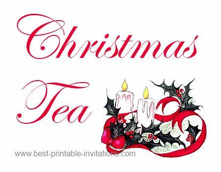 Free printable Christmas tea party invitations - festive candle design