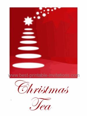 Christmas tea party invitations - free printable holiday tree invite cards