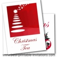 Christmas Tea Party invitations - free printable invite cards