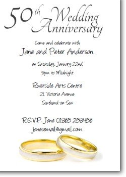 50th Anniversary Invitations Golden Wedding Invites