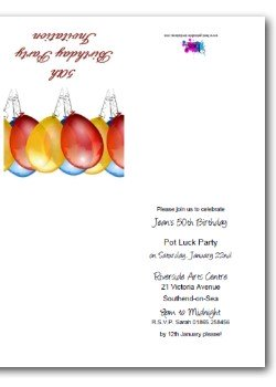 Customized 50th birthday balloons invitation