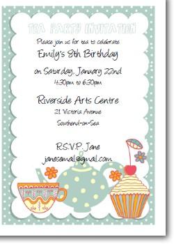 Customized Printable Tea Party Invitation