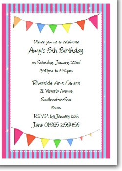 Personalized Kids Birthday Party Invitation - Pink
