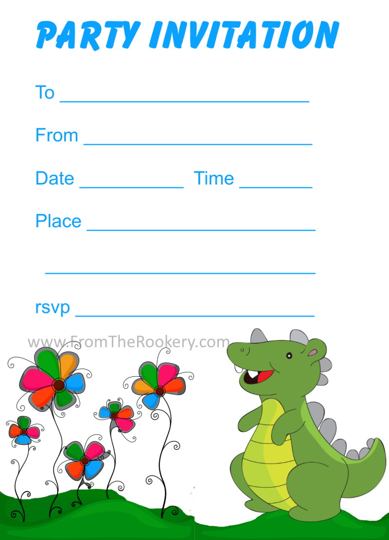 Bewitching image regarding dinosaur party invitations free printable