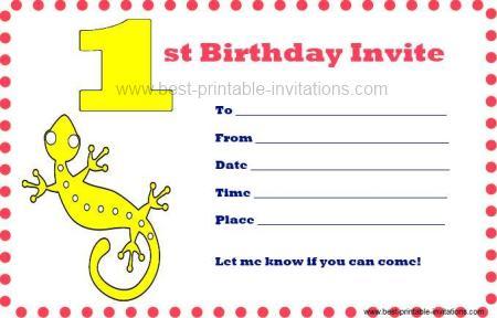 Printable First Birthday Invitations - Free Printable 1st b/day Invites