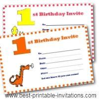 First Birthday  Invitations - Free Printable Invites