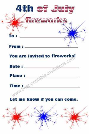 July 4th Invitations - Free printable Firework invites