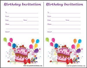 Printable Birthday Invites for Kids