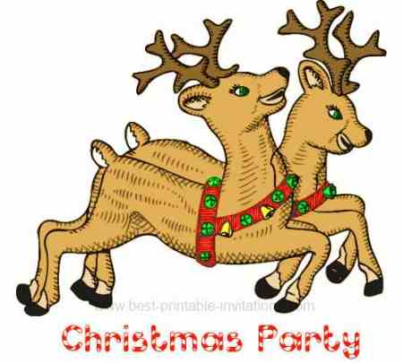 Free Christmas party invitations - Reindeer
