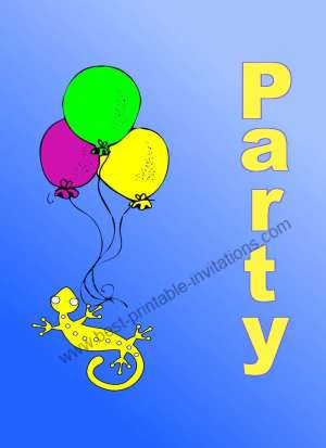 Free printable birthday party invitations - Gecko with balloons