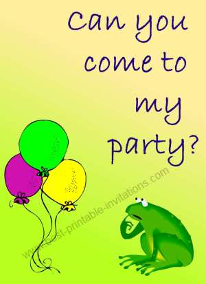 Free printable birthday invitations - Frog with Balloons
