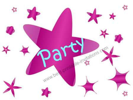 Free printable birthday party invitations - pink and purple stars