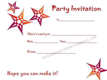Free printable birthday party invitations - orange star invite