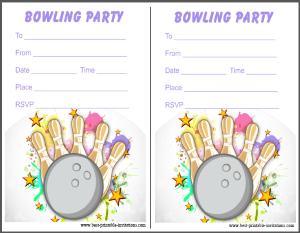 Printable Bowling Invites - Free invitation cards