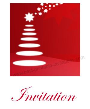 Free printable Christmas party invitations - white tree on red background