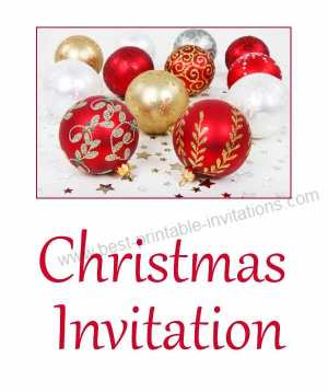 Free printable Christmas party invitations - Xmas baubles