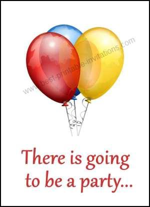 Free printable party invitations - simple balloon invite