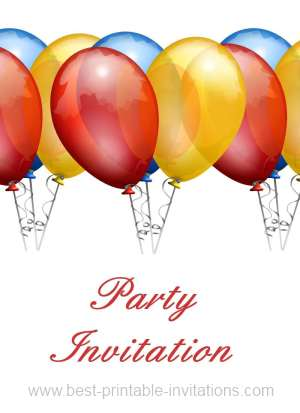 Free printable party invitations - stylish red balloons