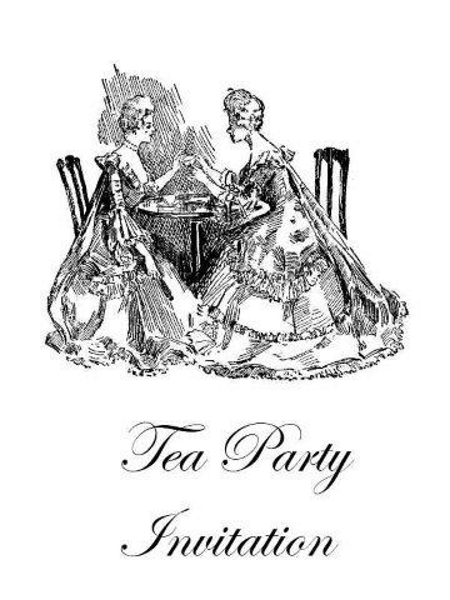 Free printable tea party invitations - Edwardian ladies